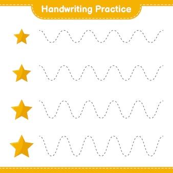 Handschriftpraxis. linien von sternen verfolgen. pädagogisches kinderspiel, druckbares arbeitsblatt