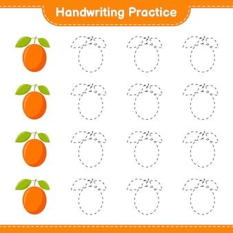Handschriftpraxis. linien von ximenia verfolgen. pädagogisches kinderspiel, druckbares arbeitsblatt, illustration
