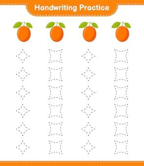 Handschriftpraxis. linien von ximenia verfolgen. pädagogisches kinderspiel, druckbares arbeitsblatt