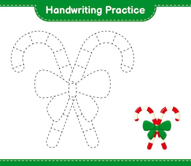 Handschriftpraxis. linien von zuckerstangen mit band verfolgen. pädagogisches kinderspiel, druckbares arbeitsblatt