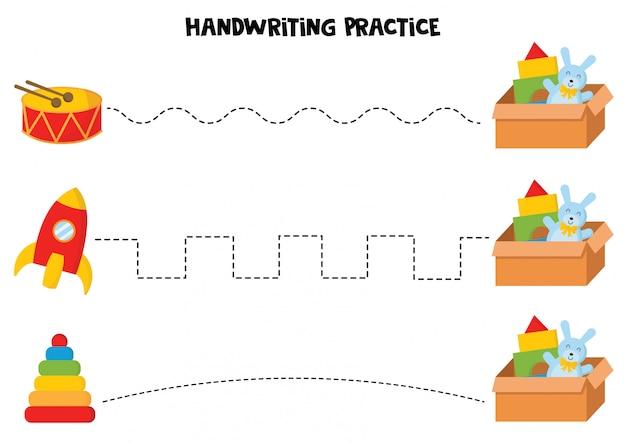 Handschriftpraxis mit bunten kinderspielzeugen.