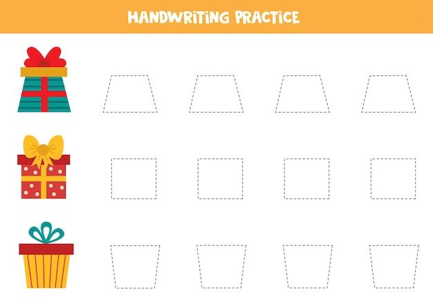 Handschriftpraxis mit cartoon-geschenkboxen. verfolgungslinien für kinder.