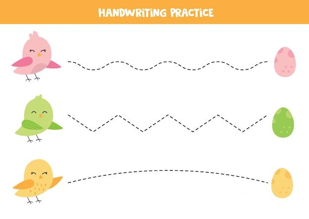 Handschriftpraxis mit niedlichen bunten vögeln