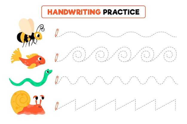 Handschriftpraxis mit verschiedenen tieren