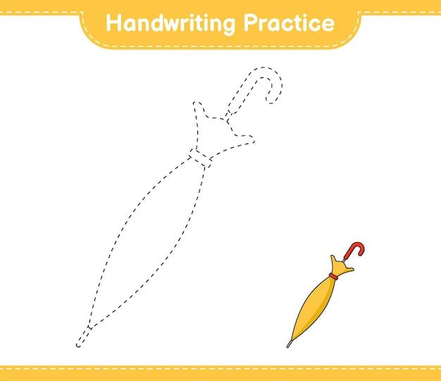 Handschriftpraxis tracing linien von regenschirm pädagogisches kinderspiel druckbares arbeitsblatt
