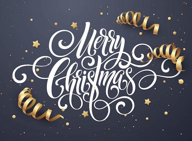 Handschrifts-skriptbeschriftung der frohen weihnachten, weihnachtsglückwunschkarte