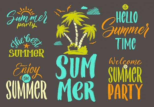 Handschriftsvektorwörter stellten für sommerpostkartendekoration ein.