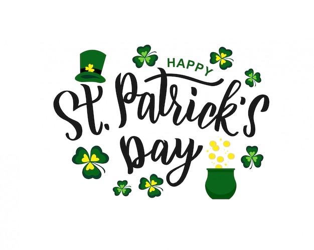 Handschrifttext des st. patrick's day als logo, karte, fahnenschablone. illustration für irisches festdesign. hand gezeichnete typografie mit grünem hut und kleeblatt.