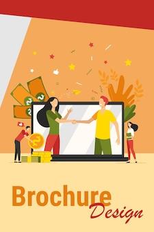 Handschütteln von zwei geschäftspartnern in der flachen vektorillustration des großen laptopbildschirms. zeichentrickfiguren schließen vereinbarung online ab. partnerschaft, teamwork und globales verhandlungskonzept