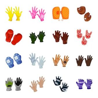 Handschuh-cartoon-icon-set
