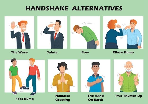Handshake-alternativen, um die ausbreitung des coronavirus zu stoppen