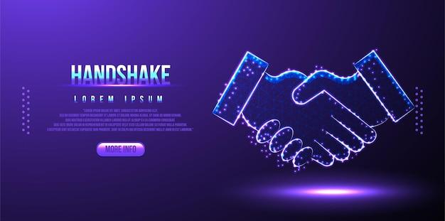 Handshake, business low poly wireframe mesh aus polygonalem design
