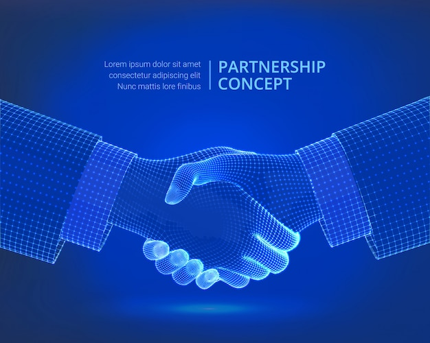Handshake der partnerschaft. kollaborationskonzept.
