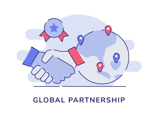 Handshake-erdzeiger-standortzertifikat des globalen partnerschaftskonzepts