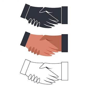 Handshake flache ikonensätze lokalisiert auf weißem hintergrund.