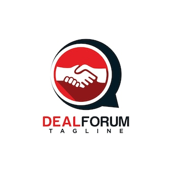 Handshake-forum-logo-design mit deal-illustration