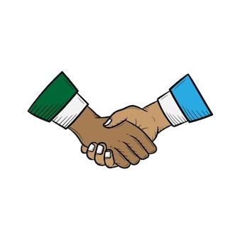 Handshake handgezeichnetes illustrationsskizzen-vektordesign
