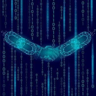 Handshake low poly, blockchain internet-technologie e-commerce-geschäft