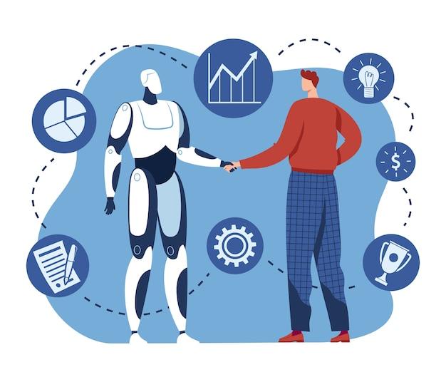 Handshake mit roboter, mensch und ai-technologie arbeiten zusammen, illustration. mensch halten zukünftige cyborg-maschinenhand, roboter-computerarbeit. innovationsabkommen mit künstlicher intelligenz.