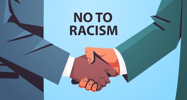 Handshake-poster in verschiedenen farben, schwarz und gelb, gegen rassismus und diskriminierung, rassengleichheit, soziale gerechtigkeit