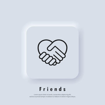 Handshake-symbol, herzsymbol. handshake mit herzform. ehrenamtliches symbol. nächstenliebe oder liebessymbol geben. vektor. ui-symbol. neumorphic ui ux weiße benutzeroberfläche web-schaltfläche.