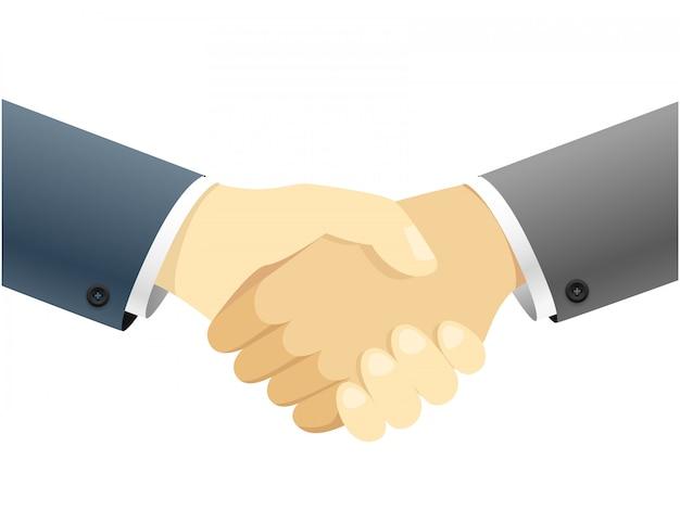 Handshake-vektor-konzept abbildung getrennt auf weißem hintergrund