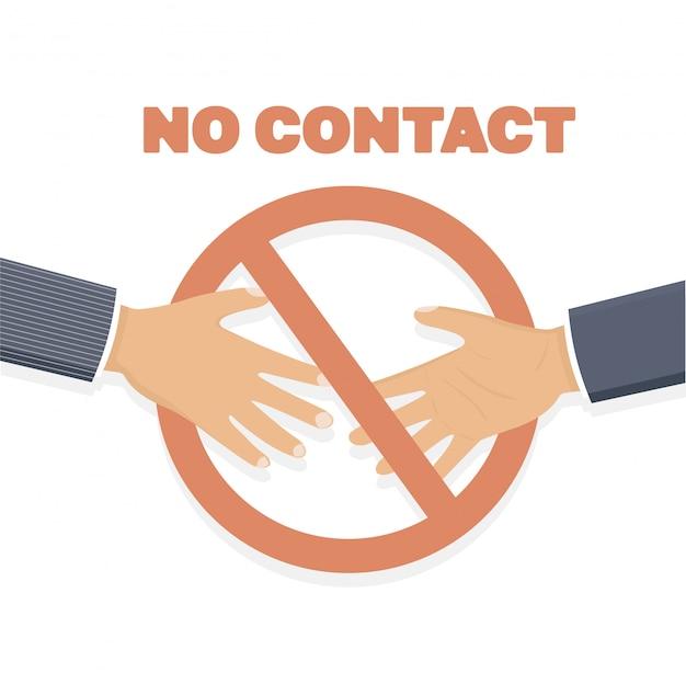 Handshake-verbot. kein händedruck, kein kontakt.
