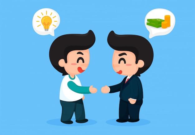 Handshake von arbeitgebern und mitarbeitern wirtschaftliche zusammenarbeit.