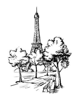 Handskizze des eiffelturms. pariser skizze.