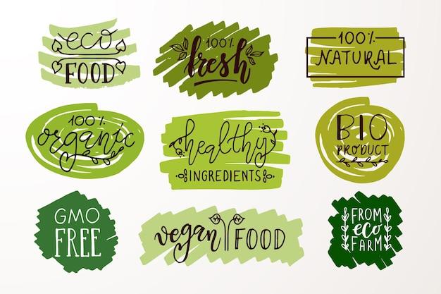 Handskizzierte abzeichen und etiketten mit vegetarischem veganem rohem öko-bio-natürlichem frischem gluten eps 10
