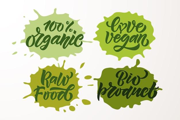 Handskizzierte abzeichen und etiketten mit vegetarischem veganem rohem öko-bio-natürlichem frischem gluten eps10