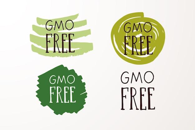 Handskizzierte abzeichen und etiketten mit vegetarischem veganem rohem öko-bio-natürlichem frischem gluten und gmo