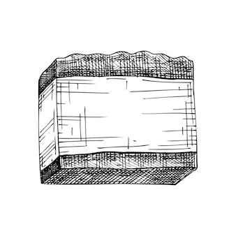 Handskizzierte aromatische seifenillustrationszeichnung von handgezeichnetem seifenstück