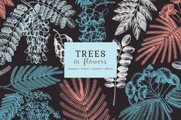Handskizzierte bäume in blumen. vintage illustrationen auf blühender glyzinie, mimose, albizia, akazie.