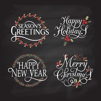 Handskizzierte frohe feiertage abzeichen und icon set frohes neues jahr logo vorlage frohe weihnachten karte