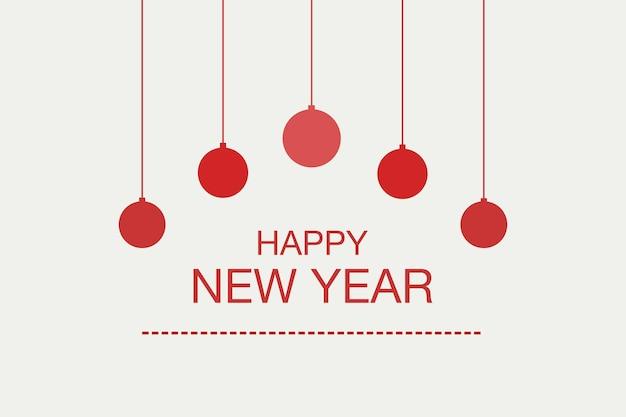 Handskizzierte happy new year logo, abzeichen und symbol mit weihnachtsbaumkugeln. beschriftung des guten rutsch ins neue jahr für grußkartenschablone des neuen jahres. frohes neues jahr-banner, flyer