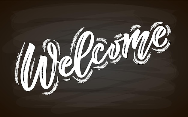 Handskizzierte willkommens-schriftzug-typografie handgeschriebenes inspirierendes zitat willkommen hand gezeichnet