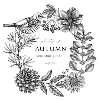 Handskizzierter herbstkranz im vintage-stil elegante botanische vorlage