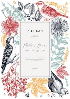 Handskizziertes herbstrahmendesign mit vögeln elegante botanische vorlage