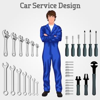 Handsome auto service mechaniker mann stand in insgesamt hände gekreuzt gegen die werkzeuge gesetzt hintergrund vektor-illustration