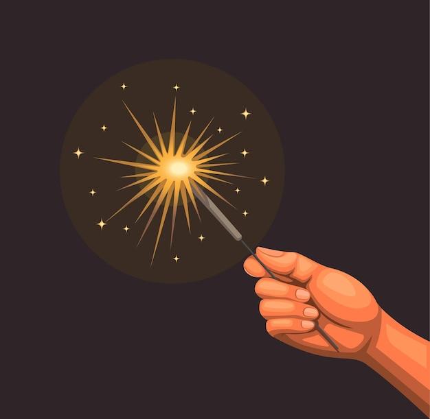 Handspiel mit brennendem wunderkerzenfeuerwerkskonzept in der karikaturillustration