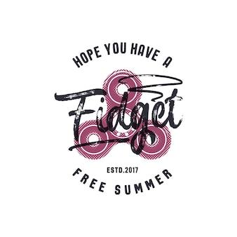 Handspinner-emblem mit lustigem zeichen - hoffe, sie haben einen zappelfreien sommer. grafisches t-shirt-design. t-shirt-druck. vektorgrafik auf weißem hintergrund