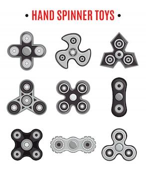 Handspinner-schwarz-ikonen eingestellt
