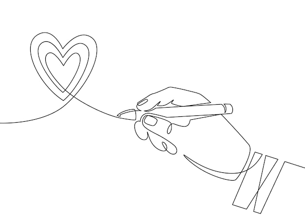 Handstift und herz. kontinuierliche einzeilige handzeichnung herz-kritzel-zeichen. minimales umriss-liebessymbol, valentinsgruß-grafikvektorkonzept. lineare romantische vorlage mit mannpalmenillustration