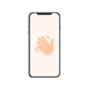 Handsymbol auf dem telefon hallo, hallo, winken sie mit der hand, reinigen sie die hände, bewegen sie die hand, stoppen sie das symbol für die bewegte hand p