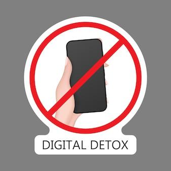 Handsymbol mit einem telefon durchgestrichen. das konzept des verbots von geräten