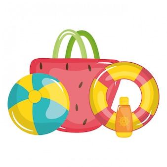 Handtasche frau mit schwimmleibwächter und ballon spielzeug