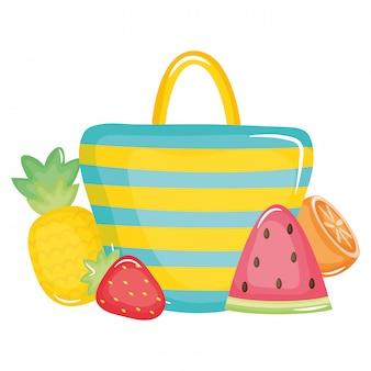 Handtaschenfrau mit sommerfrüchten