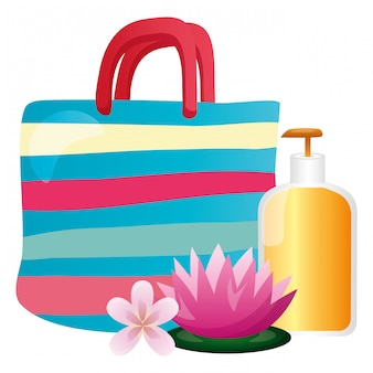Handtaschenlotionsflaschenblume