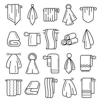 Handtuch-icon-set. umrisssatz handtuchvektorikonen